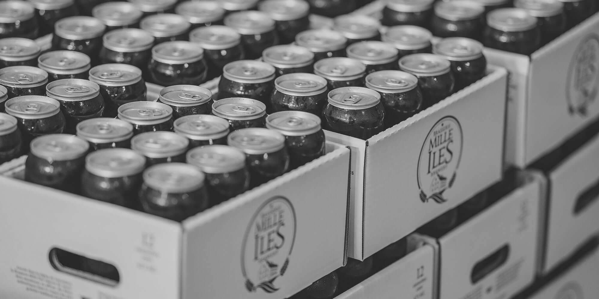 Caisses de bières brasserie mille iles